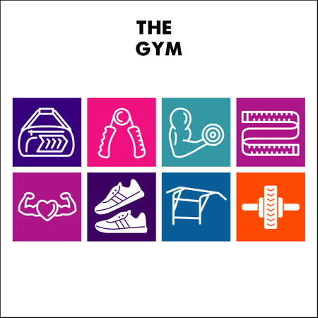 Modern Gym Exercises Infographic design template with icons. Sport Infographic visualization on white background. Fitness template for presentation. Creative vector illustration for infographic.