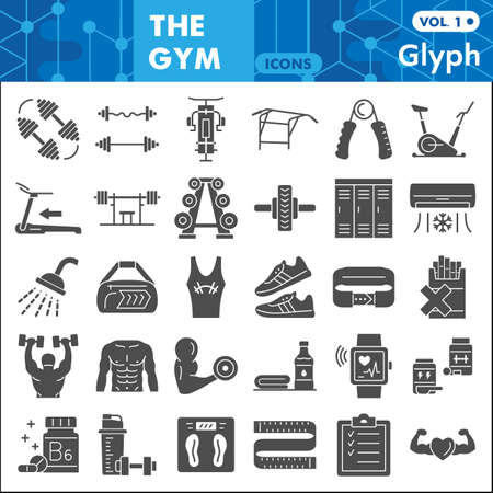 Gym Exercises solid icon set, Sport symbols collection or sketches. Fitness glyph style signs for web and app. Vector graphics isolated on white background.