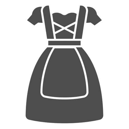 Oktoberfest national dress solid icon, Oktoberfest concept, Bavarian Woman dress sign on white background, German traditional national clothing icon in glyph style. Vector graphics. Vektorgrafik