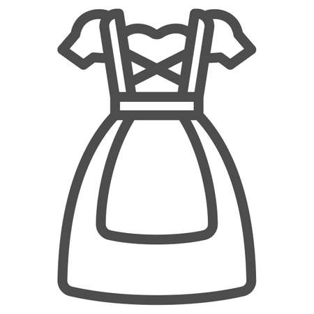 Oktoberfest national dress line icon, Oktoberfest concept, Bavarian Woman dress sign on white background, German traditional national clothing icon in outline style. Vector graphics. Illustration