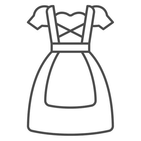 Oktoberfest national dress thin line icon, Oktoberfest concept, Bavarian Woman dress sign on white background, German traditional national clothing icon in outline style. Vector graphics. Illustration