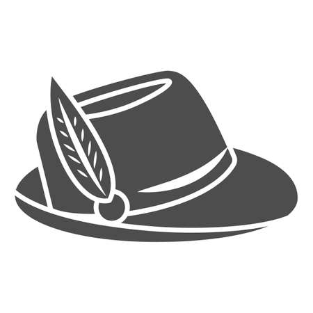 Hat with feather solid icon, Oktoberfest concept, Oktoberfest hat sign on white background, german hunting cap with feather and rope icon in glyph style for mobile and web. Vector graphics.