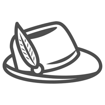 Hat with feather line icon, Oktoberfest concept, Oktoberfest hat sign on white background, german hunting cap with feather and rope icon in outline style for mobile and web. Vector graphics.