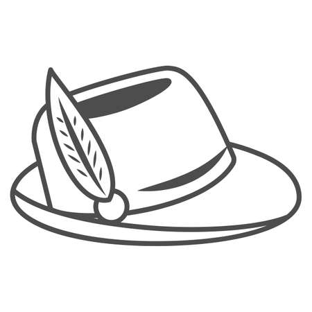 Hat with feather thin line icon, Oktoberfest concept, Oktoberfest hat sign on white background, german hunting cap with feather and rope icon in outline style for mobile and web. Vector graphics.