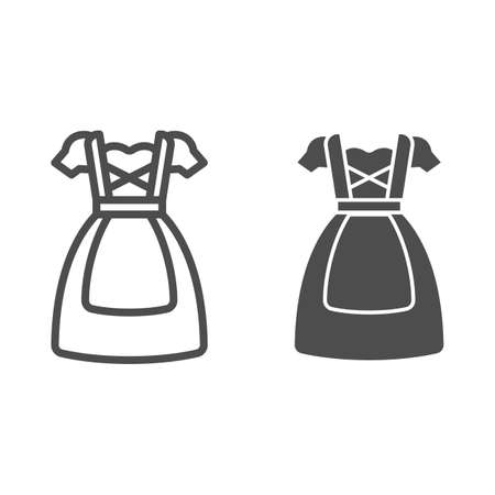 Oktoberfest national dress line and solid icon, Oktoberfest concept, Bavarian Woman dress sign on white background, German traditional national clothing icon in outline style. Vector graphics. Illustration