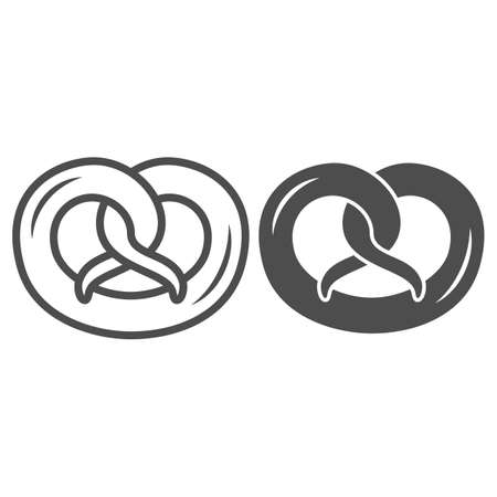 Pretzel line and solid icon, Oktoberfest concept, German Traditional Bakery Food sign on white background, pretzel salty snack icon in outline style for mobile concept and web design. Vector graphics.