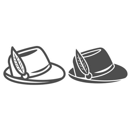Hat with feather line and solid icon, Oktoberfest concept, Oktoberfest hat sign on white background, german hunting cap with feather and rope icon in outline style for mobile and web. Vector graphics. 向量圖像
