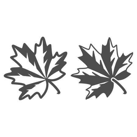 Maple leaf line and solid icon, Oktoberfest concept, autumn symbol sign on white background, maple leaf icon in outline style for mobile concept and web design. Vector graphics.