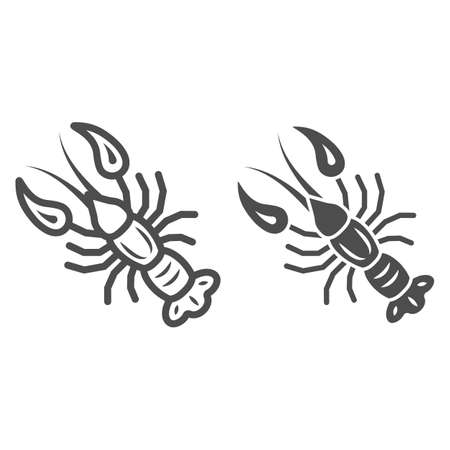 Boiled crayfish for beer festival line and solid icon, Oktoberfest concept, well-done crayfish sign on white background, Boiled Lobster icon in outline style for mobile, web design. Vector graphics.