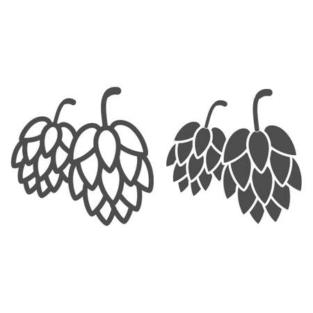 Hops line and solid icon, Oktoberfest concept, Hop beer sign on white background, Hop cones icon in outline style for mobile concept and web design. Vector graphics. 向量圖像
