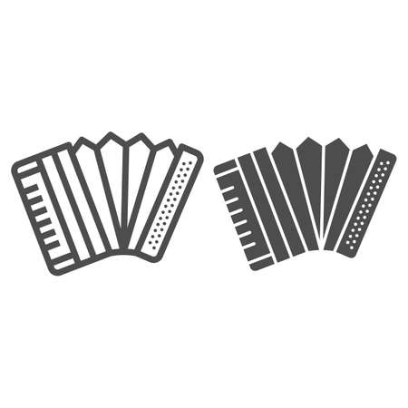 Accordion line and solid icon, Oktoberfest concept, Musical instrument silhouette sign on white background, harmonica icon in outline style for mobile concept and web design. Vector graphics.