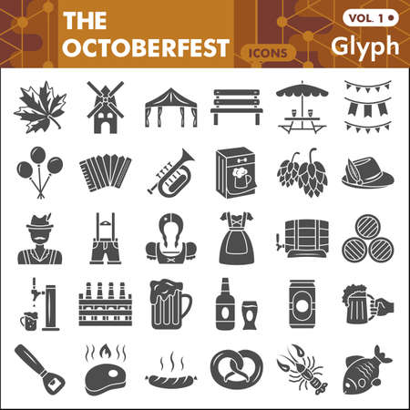 Oktoberfest solid icon set, beer and food symbols collection or sketches. Beer festival glyph style signs for web and app. Vector graphics isolated on white background.