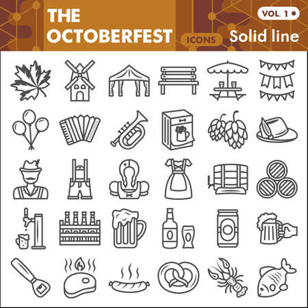 Oktoberfest line icon set, beer and food symbols collection or sketches. Beer festival linear style signs for web and app. Vector graphics isolated on white background.