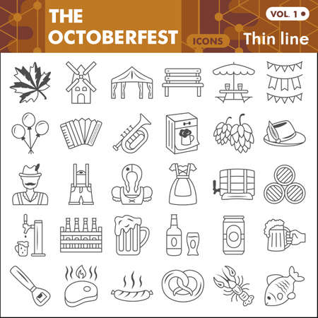 Oktoberfest thin line icon set, beer and food symbols collection or sketches. Beer festival linear style signs for web and app. Vector graphics isolated on white background.