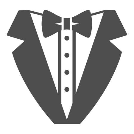 Tuxedo solid icon, Sea cruise concept, gentleman formal dinner jacket sign on white background, tuxedo and bow tie icon in glyph style for mobile concept and web design. Vector graphics. 矢量图像
