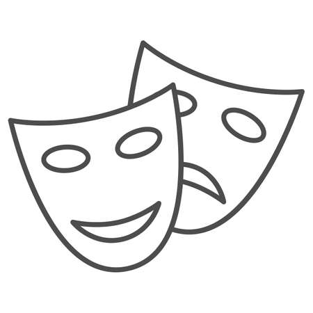 Theatrical masks thin line icon, Sea cruise concept, masquerade sign on white background, Funny and sad theater masks icon in outline style for mobile concept and web design. Vector graphics.