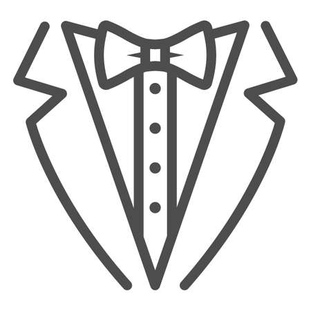 Tuxedo line icon, Sea cruise concept, gentleman formal dinner jacket sign on white background, tuxedo and bow tie icon in outline style for mobile concept and web design. Vector graphics.