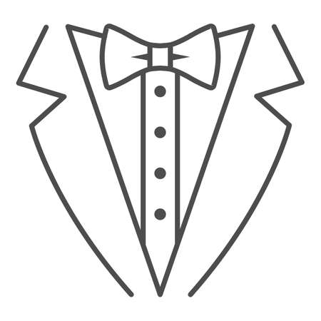Tuxedo thin line icon, Sea cruise concept, gentleman formal dinner jacket sign on white background, tuxedo and bow tie icon in outline style for mobile concept and web design. Vector graphics.