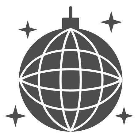 Disco ball solid icon, Sea cruise concept, sparkling party sphere decoration sign on white background, mirror disco ball icon in glyph style for mobile concept, web design. Vector graphics. Vettoriali