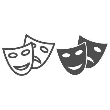 Theatrical masks line and solid icon, Sea cruise concept, masquerade sign on white background, Funny and sad theater masks icon in outline style for mobile concept and web design. Vector graphics.