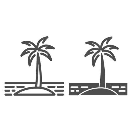 Island line and solid icon, Sea cruise concept, Palm trees silhouette on beach sign on white background, Tropical Island with palms icon in outline style for mobile and web design. Vector graphics.