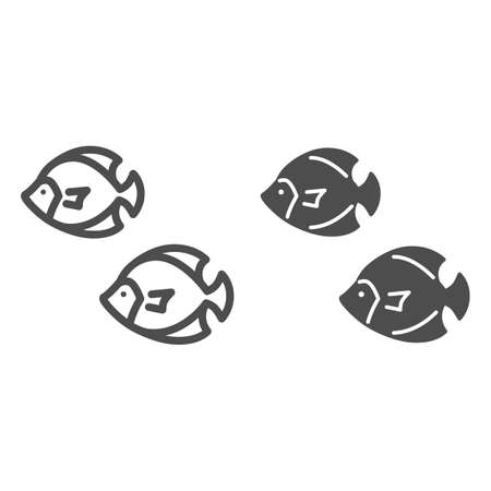 Sea fish line and solid icon, marine life concept, underwater world sign on white background, Colony of small fish icon in outline style for mobile concept and web design. Vector graphics.