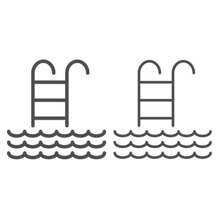 Ladder to the open sea line and solid icon, Sea cruise concept, swimming pool sign on white background, ladder and waves icon in outline style for mobile concept and web design. Vector graphics. Vettoriali