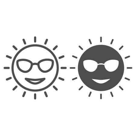 Sun with glasses line and solid icon, Sea cruise concept, smiling sunny face sign on white background, cute sun in glasses icon in outline style for mobile concept and web design. Vector graphics. Vettoriali