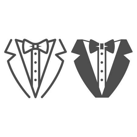 Tuxedo line and solid icon, Sea cruise concept, gentleman formal dinner jacket sign on white background, tuxedo and bow tie icon in outline style for mobile concept and web design. Vector graphics. Vettoriali