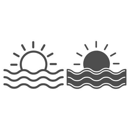 Sun and sea waves line and solid icon, Sea cruise concept, sunset sign on white background, Sun and wave icon in outline style for mobile concept and web design. Vector graphics.