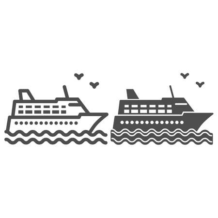 Cruise ship line and solid icon, Sea cruise concept, sail boat on waves sign on white background, sea cruise ship icon in outline style for mobile concept and web design. Vector graphics.