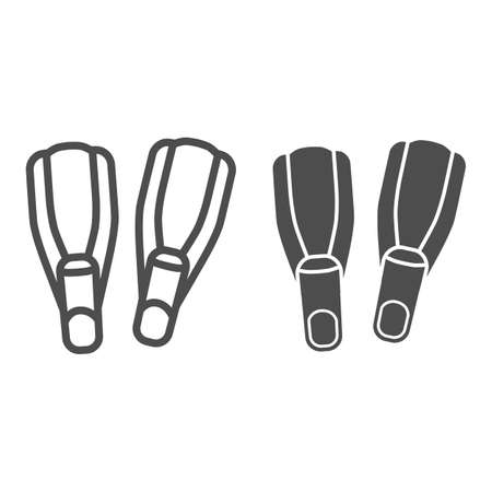 Swimming fins line and solid icon, underwater sport concept, Pair of flippers sign on white background, diving fins icon in outline style for mobile concept and web design. Vector graphics. Vettoriali