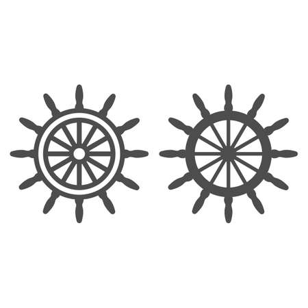 Ship steering wheel line and solid icon, Sea cruise concept, marine wooden wheel sign on white background, rudder icon in outline style for mobile concept and web design. Vector graphics.