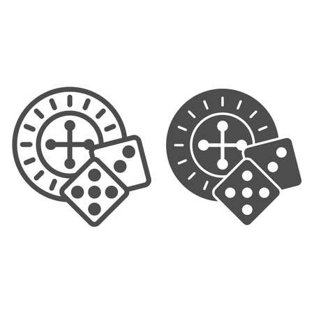 Roulette and dice line and solid icon, Sea cruise concept, casino sign on white background, Roulette with cubes icon in outline style for mobile concept and web design. Vector graphics. Vettoriali