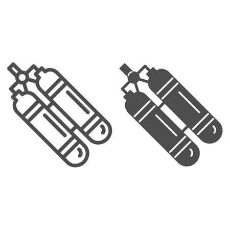 Aqualung line and solid icon, underwater sport concept, Oxygen tank for diver sign on white background, aqualung for scuba diving icon in outline style for mobile and web design. Vector graphics.