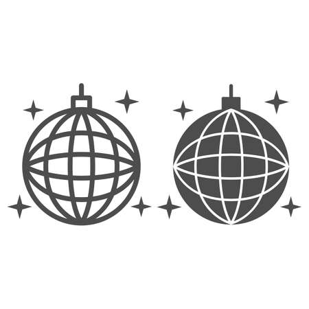 Disco ball line and solid icon, Sea cruise concept, sparkling party sphere decoration sign on white background, mirror disco ball icon in outline style for mobile concept, web design. Vector graphics.