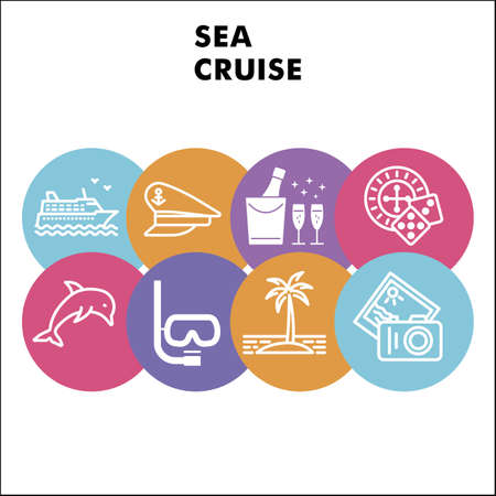 Modern Sea cruise Infographic design template with icons. Voyage Infographic visualization in bubble design on white background. Cruise template for presentation. Vector illustration for infographic.