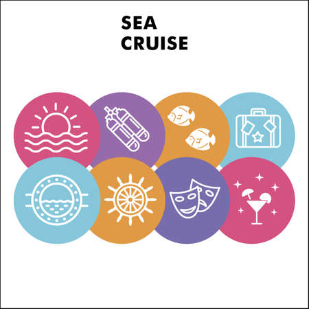 Modern Sea cruise Infographic design template with icons. Sea theme Infographic visualization in bubble design on white background. Creative vector illustration for infographic.