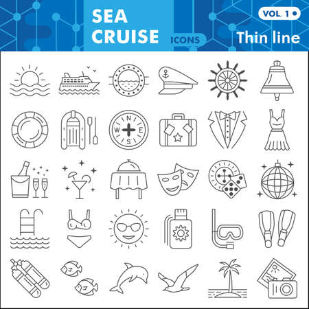 Sea cruise thin line icon set, voyage symbols collection or sketches. Vacation and travel linear style signs for web and app. Vector graphics isolated on white background. Vettoriali