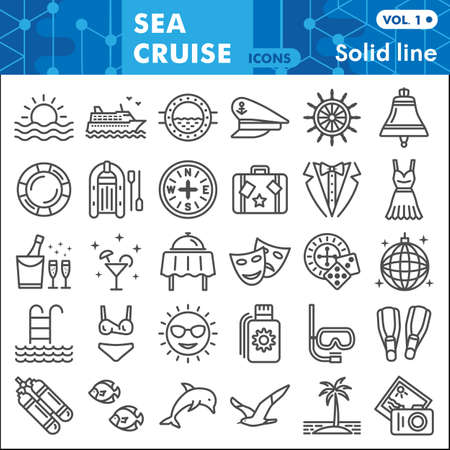 Sea cruise line icon set, voyage symbols collection or sketches. Vacation and travel linear style signs for web and app. Vector graphics isolated on white background. Vettoriali