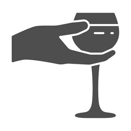 Wineglass in hand solid icon, Wine festival concept, Glass of wine in palm sign on white background, Hand holding glass icon in glyph style for mobile and web design. Vector graphics.  イラスト・ベクター素材