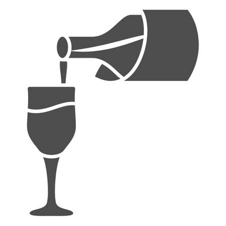 Wine pouring from bottle into glass solid icon, Wine festival concept, Bottle and glass sign on white background, tasting wine icon in glyph style for mobile, web design. Vector graphics.