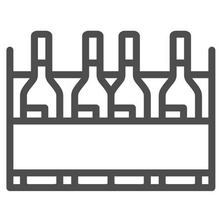 Box with wine bottles line icon, Wine festival concept, wine bottles in case sign on white background, alcohol drink in wooden crate icon in outline style for mobile, web. Vector graphics.