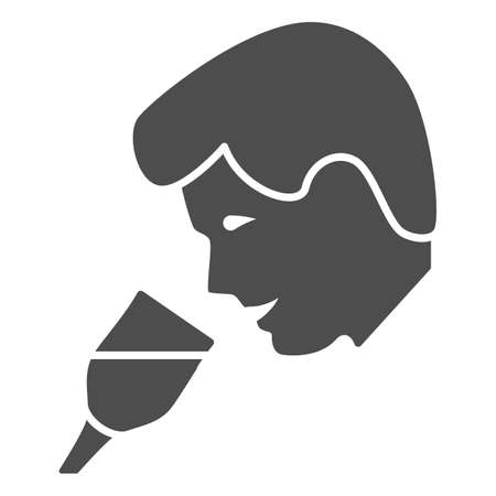 Person taste wine solid icon, Wine festival concept, man smelling liquid in glass sign on white background, Man drinks wine from glass icon in glyph style for mobile. Vector graphics.