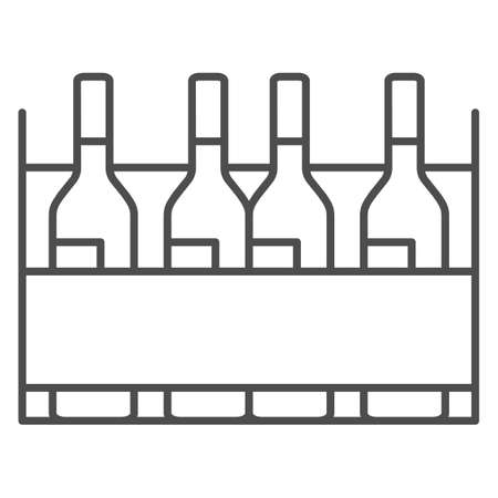 Box with wine bottles thin line icon, Wine festival concept, wine bottles in case sign on white background, alcohol drink in wooden crate icon in outline style for mobile, web. Vector graphics.  イラスト・ベクター素材