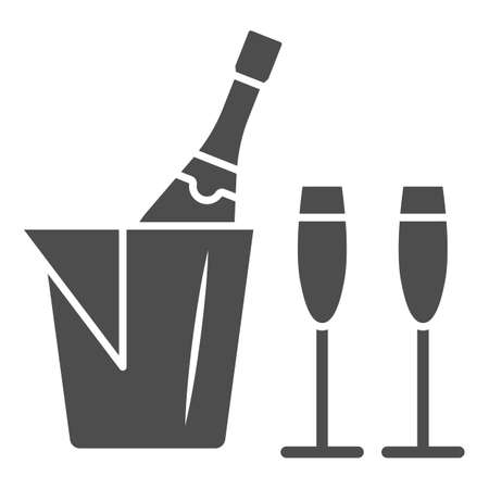 Champagne in ice bucket and two glasses solid icon, Wine festival concept, Romantic dinner sign on white background, Ice bucket with wine and glasses icon in glyph style. Vector graphics.