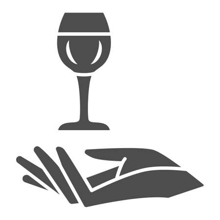 Wineglass in hand solid icon, Wine festival concept, Glass of wine over palm sign on white background, Hand holding glass icon in glyph style for mobile and web design. Vector graphics.  イラスト・ベクター素材