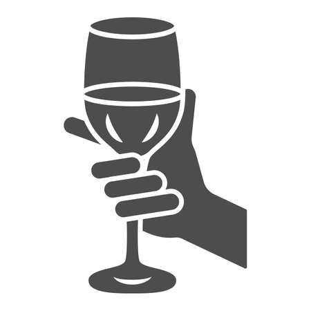 Glass of wine in hand solid icon, Wine festival concept, Glass of wine in person palm sign on white background, Hand holding glass with drink icon in glyph style. Vector graphics.