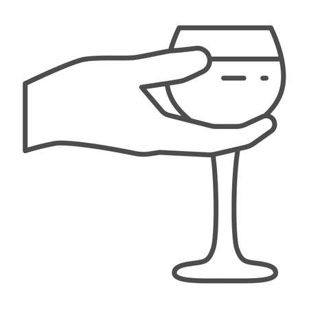Wineglass in hand thin line icon, Wine festival concept, Glass of wine in palm sign on white background, Hand holding glass icon in outline style for mobile and web design. Vector graphics.  イラスト・ベクター素材