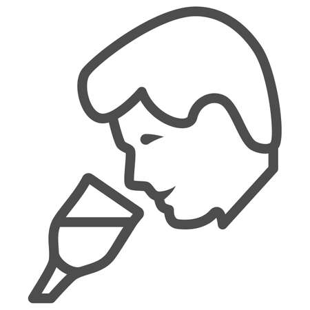 Person taste wine line icon, Wine festival concept, man smelling liquid in glass sign on white background, Man drinks wine from glass icon in outline style for mobile. Vector graphics.  イラスト・ベクター素材